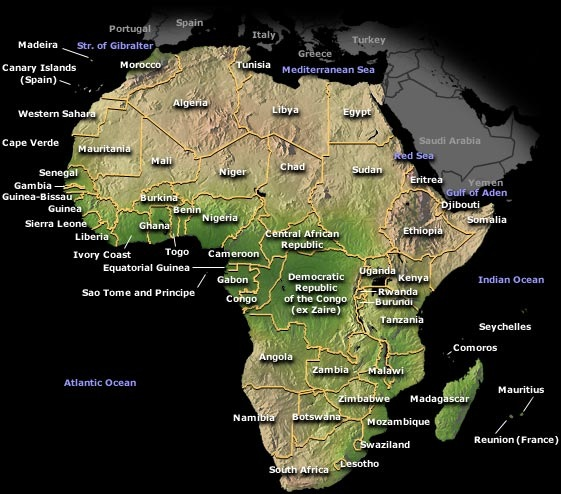 Printable Map Of Africa Physical Maps Free Printable