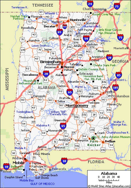 printable map of state road map of alabama road map free