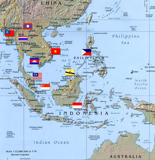 Printable Map of Political Maps of Southeast Asia Free Printable