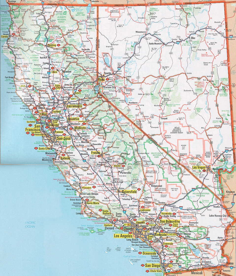 Printable Map Of Detailed Road Map Of California Road Maps Free - California road map
