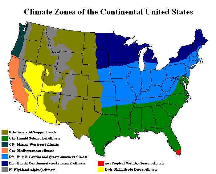 Printable Map of Climate Map of North America: United States ...
