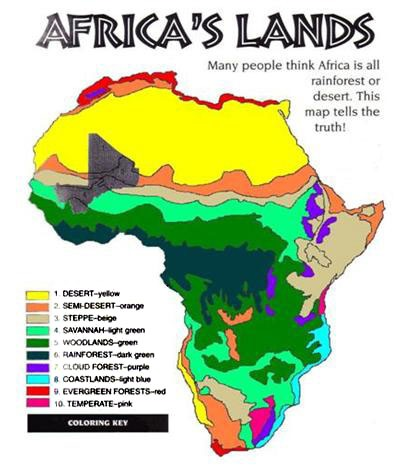 Printable Map of Africa Continent Map of Natural ...