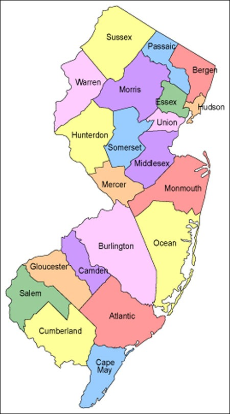 image relating to Printable Map of New Jersey called Printable Map of Region Map of Clean Jersey, Region Map Cost-free