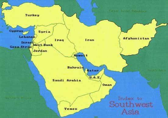 Printable Map of Political Maps of Middle East Political Maps