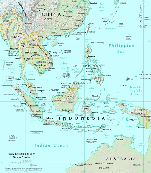 Printable Map of Physical Maps of Southeast Asia Physical Maps Free Printa
