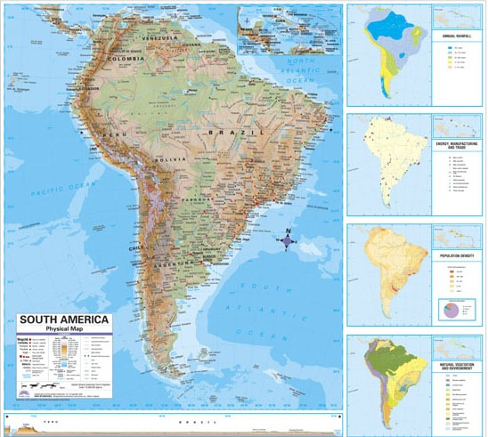 Printable Map Of South America Physical Map Free