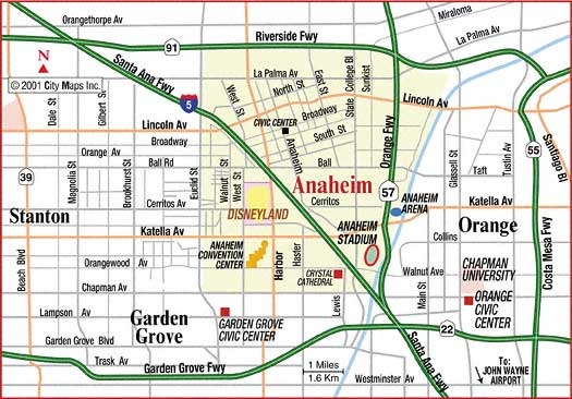 Map Of Anaheim Printable Map of Local Map of Anaheim California – Free Printable
