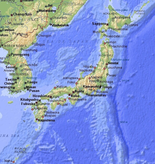 It is an image of Printable Map of Japan inside labeled